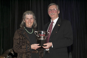 Caroline Bazley, Breeder and Owner - Blithe Hill Riddle Master, and Al Patterson member of the Board of Directors, and Past-President of Equine Canada. Photo by Shereen Jerrett