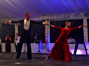 Michael Barisone and pro partner showing their moves during Prancing with the Stars.